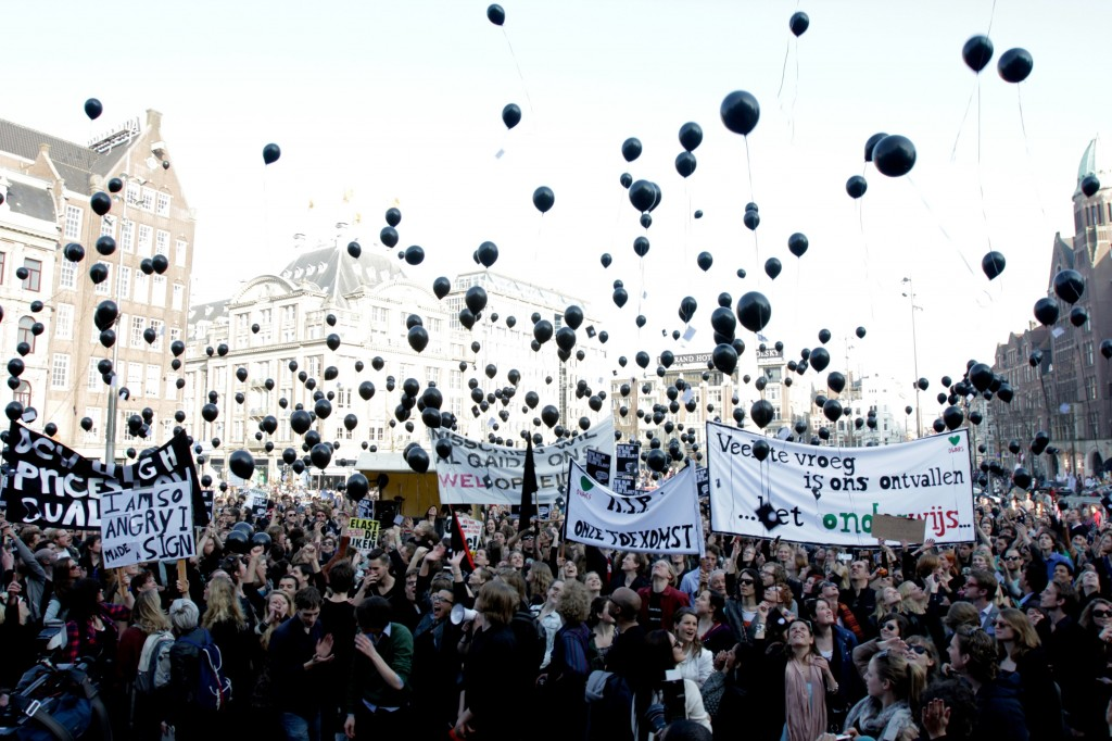 Dam Square Protests, Amsterdam, March 2012. Courtesy of ASVA